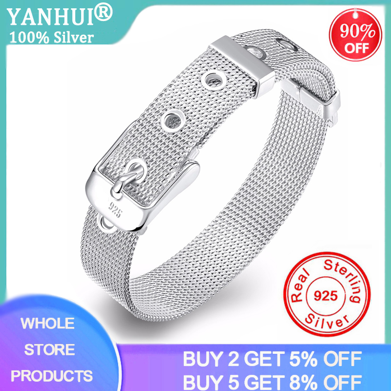 YANHUI With Certificate 100% Original 925 Silver Fine Jewelry Bracelet Fashion 10mm Watch Chain Belt Bracelet For Women Men Gift