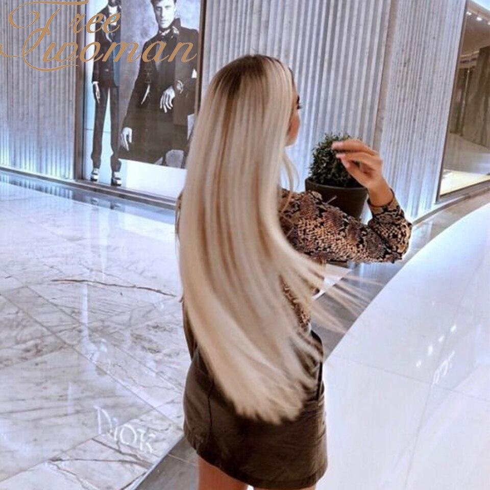 FREEWOMAN длинный белый прямой парик с естественной линией волос, темные корни, средней части, синтетические парики для женщин, парики для вечер...