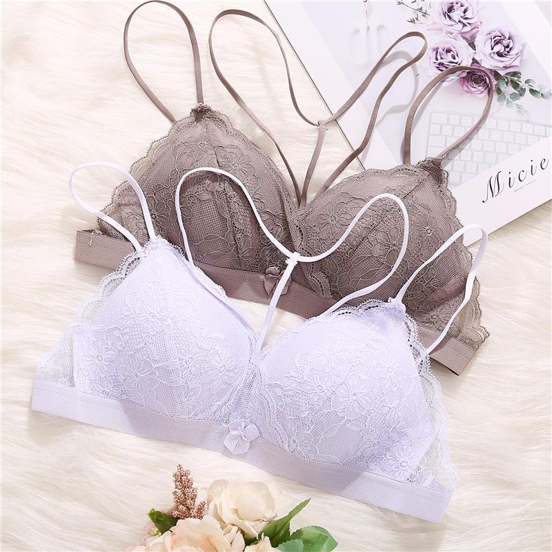 Sexy Women Brassiere Lace Bra Underwear Female Bralette Lingerie Deep V Strap Cross Front Beauty Push Up Bras Small A/B Cup