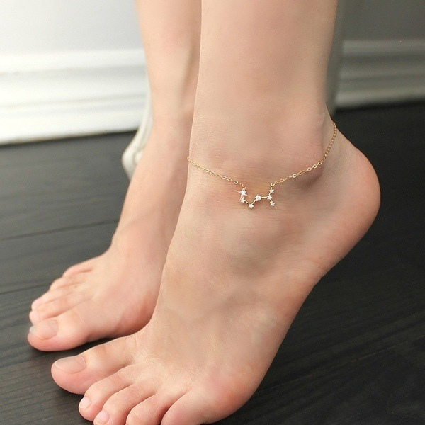 FENGLI Simple Tiny 12 Constellations Anklet for Women Geometric Zircon Zodiac Foot Chain Anklets Statement Jewelry 1