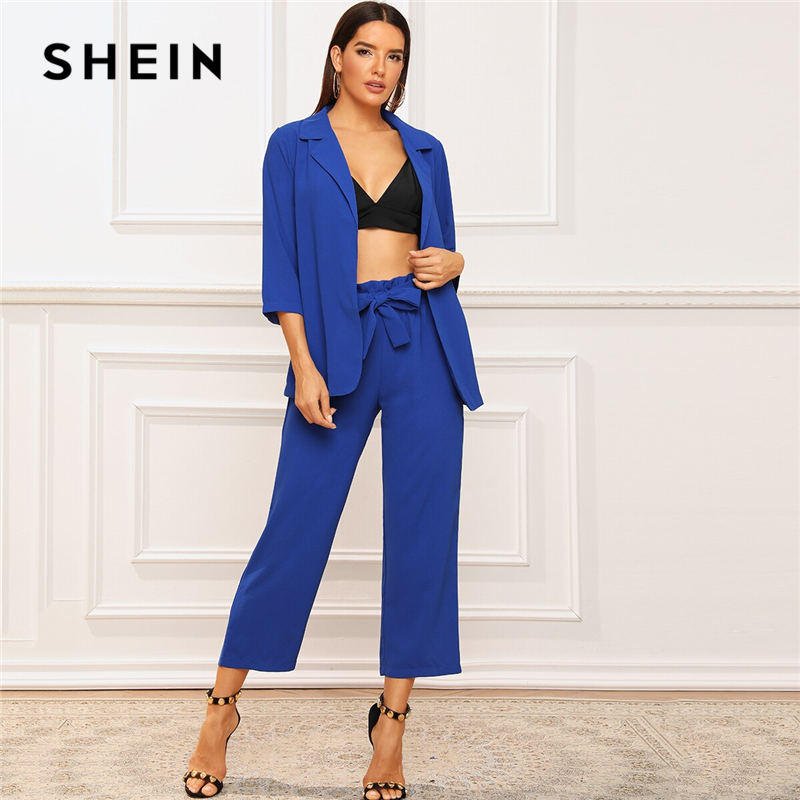 SHEIN Solid Notched Neck Blazer and Belted Crop Pants 2 Piece Set Women Autumn Elegant Office Ladies Outfits Two Piece Set 1