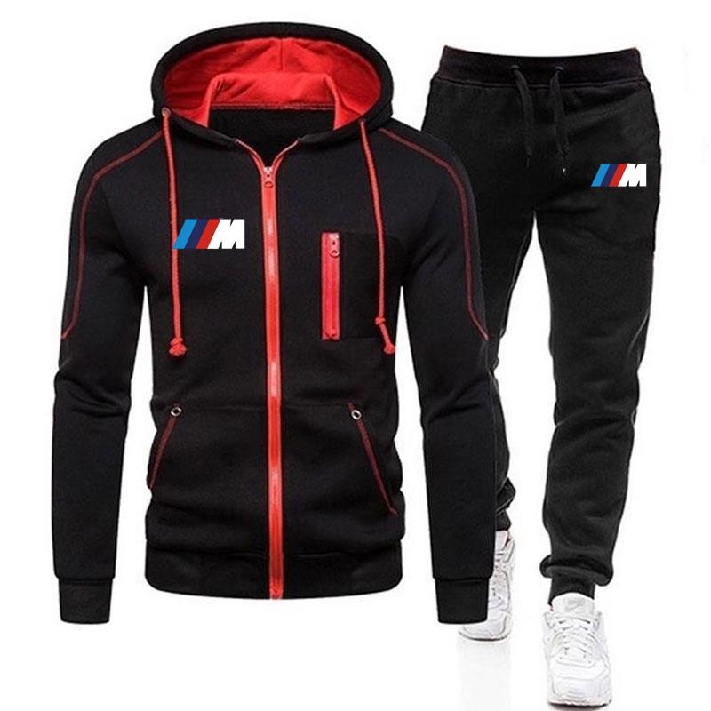Новый бренд Мужская одежда BMW спортивная одежда комплект из 2 предметов: толстовка с капюшоном + брюки для девочек; Толстовка с капюшоном; Спо...