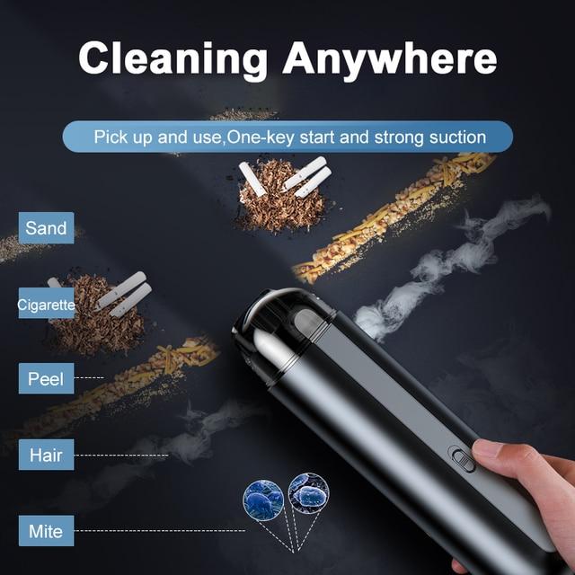 Baseus Portable Car Vacuum Cleaner Wireless Handheld Auto Vaccum 5000Pa Suction For Home Desktop Cleaning Mini Vacuum Cleaner