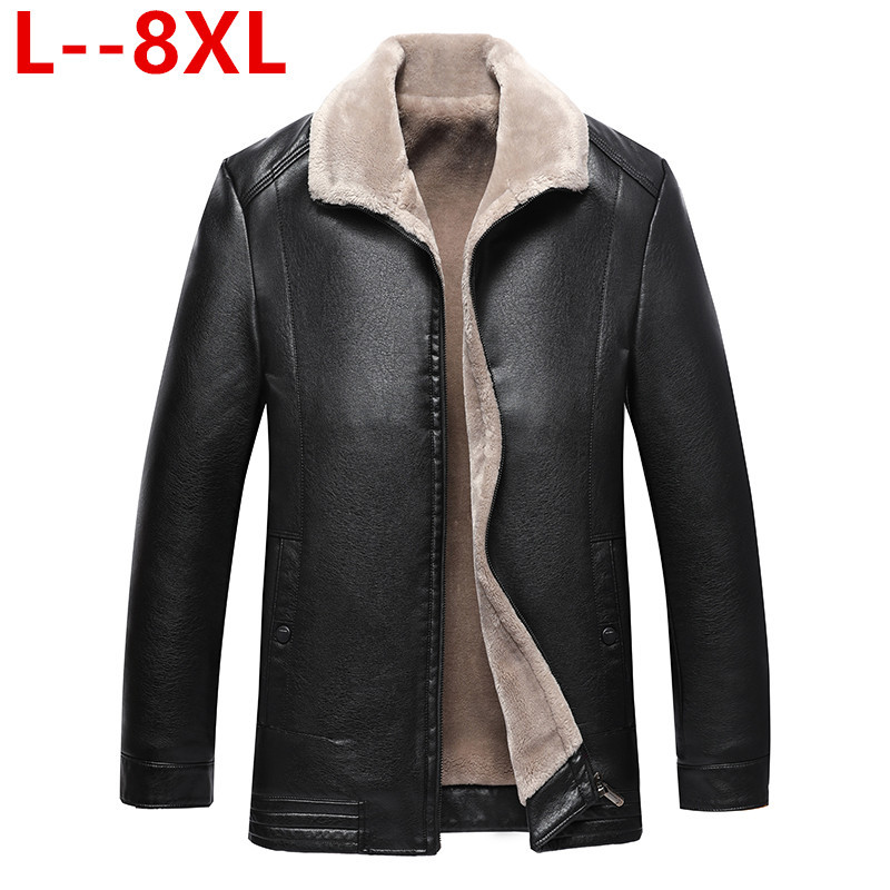 Plus size 8XL 6XL 5XL 4XL Winter Jacket Men Leather Jacket Brand Real 100% Sheepskin Coat Jaqueta Couro Male Leather Jacket Men