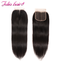 Ali Julia Hair Products Brazilian Straight Lace Closure Middle Part 120% Density Remy Natural Color 10 20 inches Closure