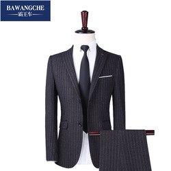 Однотонные мужские формальные костюмы, Модный деловой Повседневный Банкетный мужской костюм, пиджак + брюки + галстук, Размер 6XL, костюмы из 2...