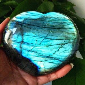 Image 2 - Gran tamaño, piedra policristalina Natural para labrador, cristales curativos, piedra lunar de cristal, chakras y reiki, corazón de meditación
