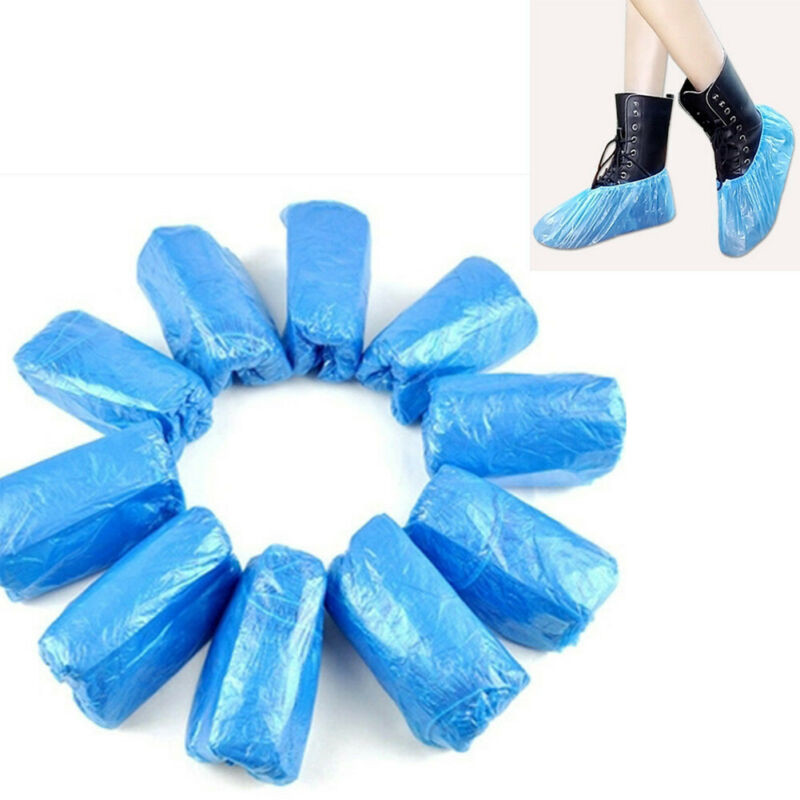 100Pcs Disposable Shoe Cover Overshoes Blue Medical Waterproof Anti Slip Plastic Cleaning Boot Safety