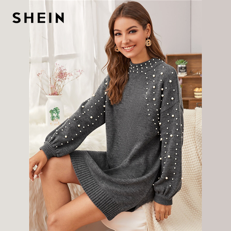SHEIN Grey Pearl Beaded Drop Shoulder Sweater Dress Women Autumn Winter Long Sleeve Slit Hem Casual Straight Short Dresses 2