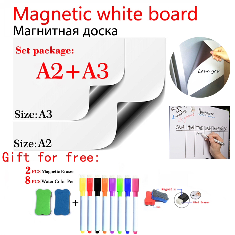 A2+A3 Magnetic Whiteboard Fridge Sticker Flexible Dry Erase White Board School Home Office Magnet Message Kids Drawing Board Wal