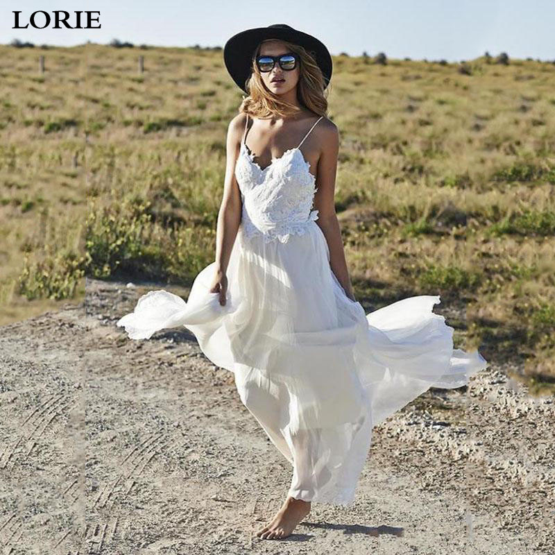 LORIE Boho Wedding Dress Lace Spaghetti Strap A Line Chiffon Backless Beach Wedding Gown  Appliques Bride Dress 2019