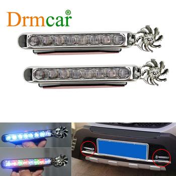 цена на 1pair LEDs No Wiring Wind Power Grille Vehicle Lights With Fan Rotation For Car Fog Warning / Daytime Running Lamp