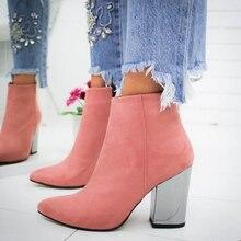 PUIMENTIUA/Женская обувь; ботильоны; ботинки из флока с носком; сезон осень-весна; Новинка года; обувь на высоком каблуке; Botas Mujer; Прямая поставка