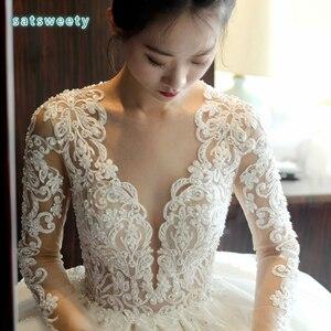 Image 2 - Vestido דה casamento ארוך שרוולים כלה שמלת 2020 V צוואר תחרה חתונה רומנטית שמלות Vestido דה noiva שמלת כלה