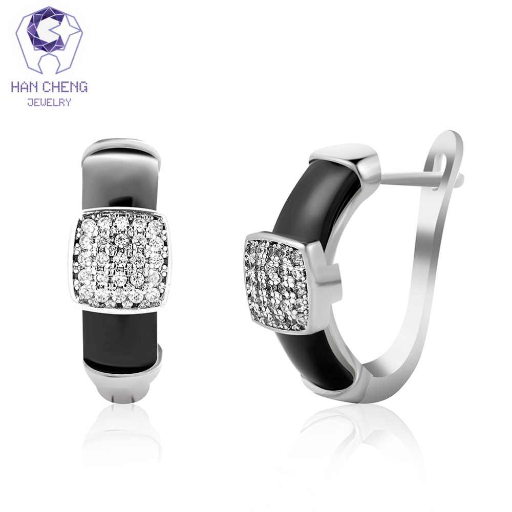HanCheng New Fashion Luxury Ceramic Silver Plated Nail Zircon CZ Gem Stone Square Stud Earrings For Women Jewelry brincos bijoux