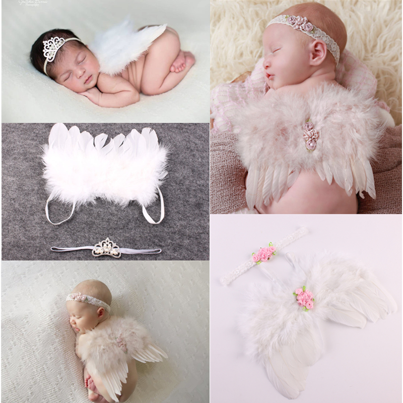 Newborn Photography Props Accessories Angel Wings Baby Photography Clothes Headdress + White Feather Wings Baby Photo Props