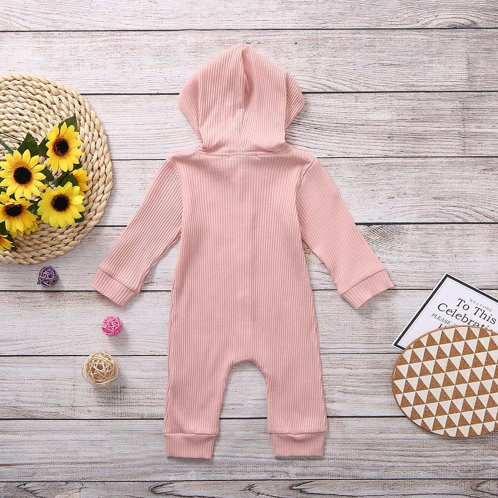 Baby Round Neck Long Sleeve Solid Color Romper A Dog in American Hat Jumpsuit