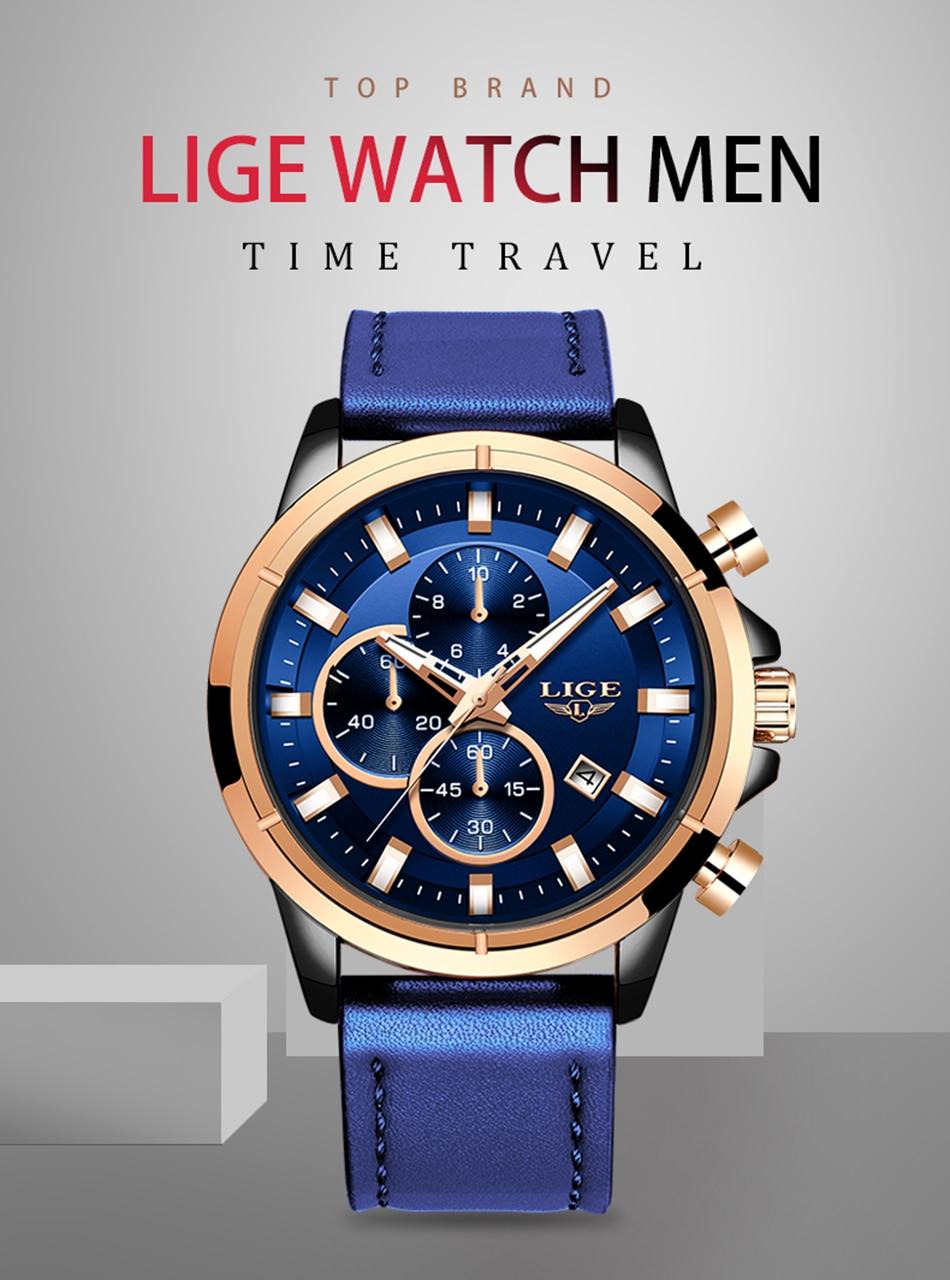 Hba34f0492e0d41d0ae9c84cb69aead8df LIGE Casual Sports Watches For Men Blue Top Brand Luxury Military Leather Wrist Watch Man Clock Fashion Chronograph Wristwatch