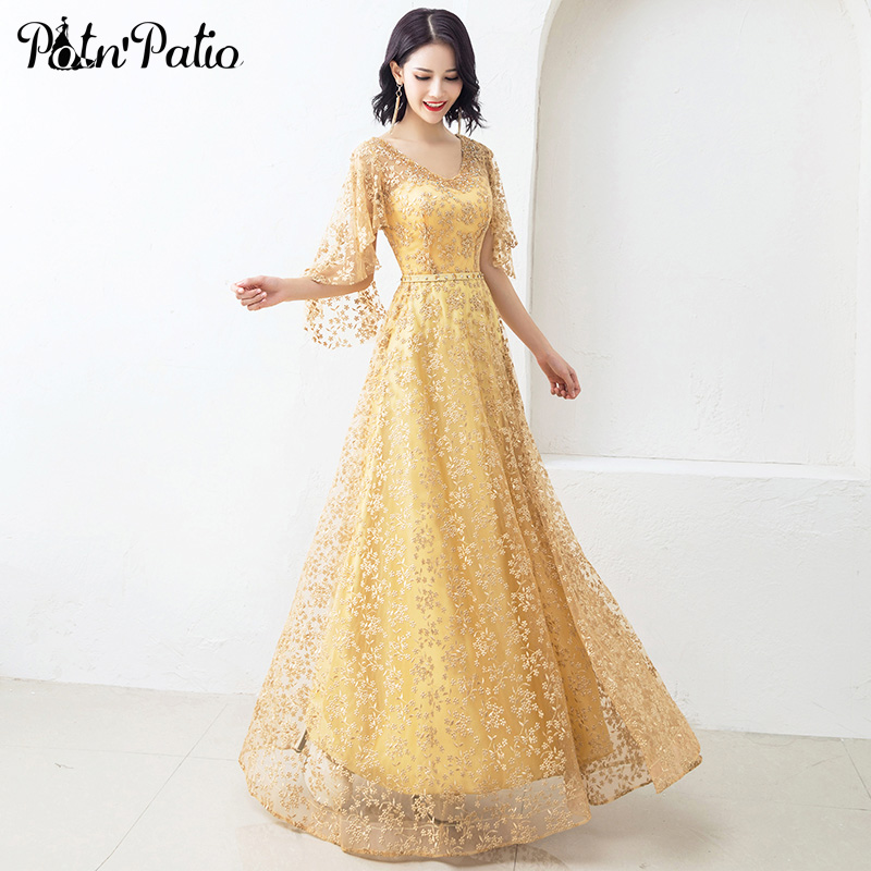 V-Neck Princess Yellow Evening Dresses Long A-line Floor-length Sexy Backless Lace Formal Evening Gowns For Women Plus Size