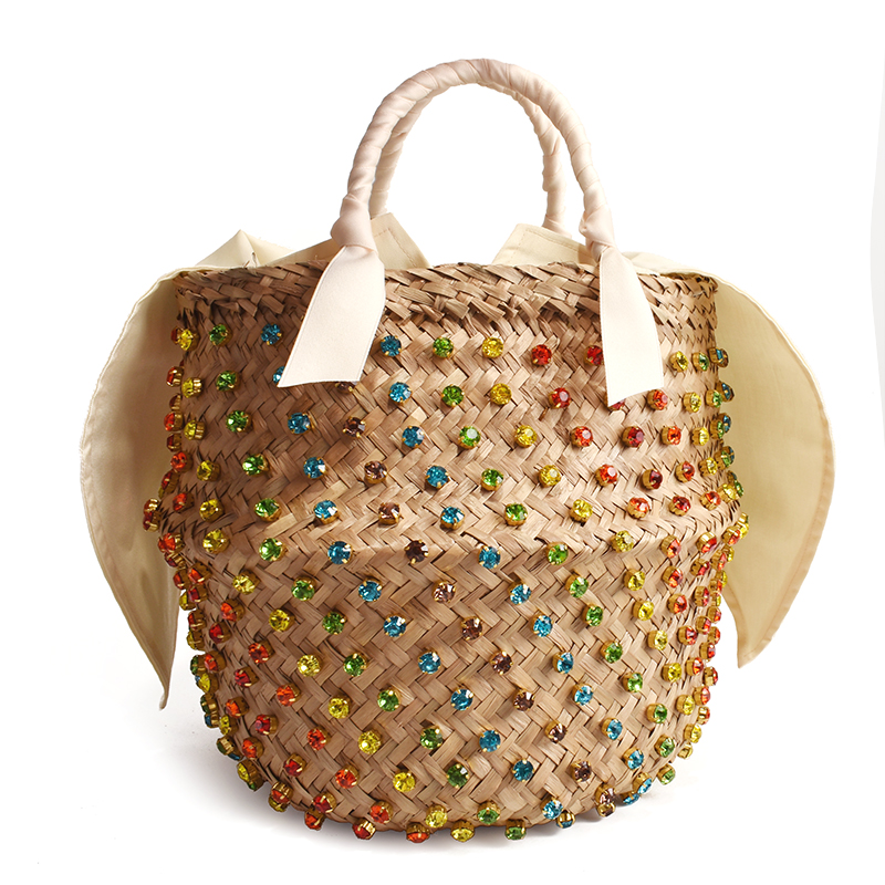 Handmade Embellished Straw Bag Summer Holiday Beach Bag with Pearl Ladies Woven Bucket Diamond Bag Designer Hot Handbags