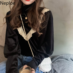 Neploe Lace Ruffle Patchwork Women Velour Blouse Korean Long Sleeve Turtleneck Shirt 2020 Autumn Winter Basic Blusa Mujer 4D952