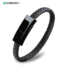 Wearable Mobile Phone Data Cable Leather Mini Type-C USB Bracelet Charger For huawei Xiaomi Portable iPhone 8