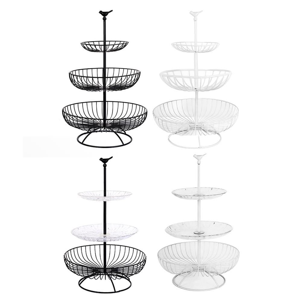 Household 3 Tier Fruit Plate Countertop Metal Fruit Basket Black Vintage Style Tray Stand Storage Basket