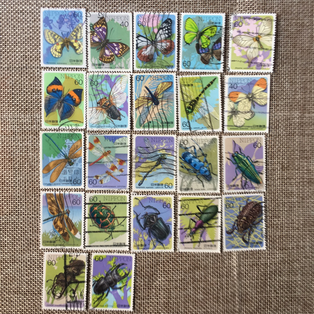 22Pcs/Set 1986-1987 Japan Post Stamps Insect Bugs Used Post Marked Postage Stamps for Collecting(China)