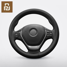 Maiwei car steering wheel cover Sweat absorbent breathable Whole top layer cowhide Fine hand stitching 37.5cm universal
