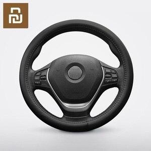 Image 1 - Maiwei housse de volant de voiture absorbant la sueur respirant couche supérieure entière peau de vache Fine couture à la main 37.5cm universel