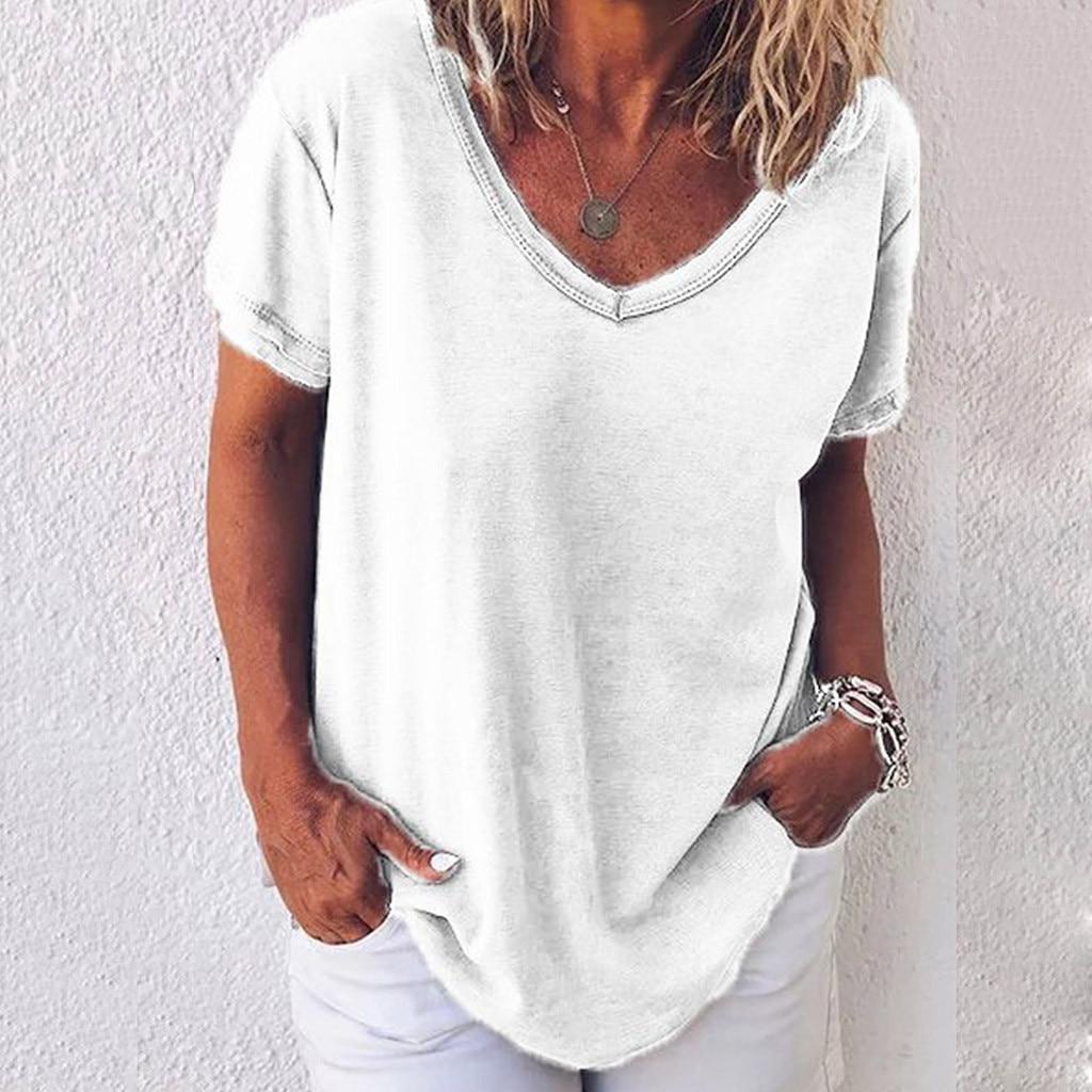 40 #, женские футболки, Женские однотонные футболки размера плюс на каждый день футболка с v-образной горловиной и джинсы, футболка с коротким...