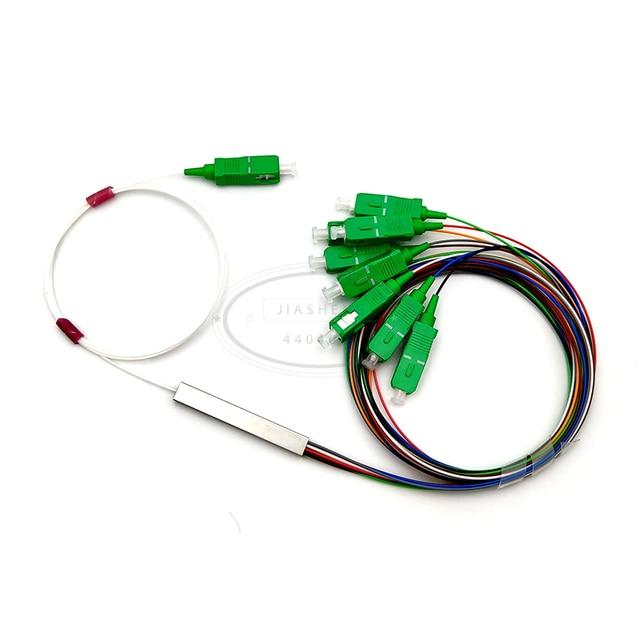 Séparateur optique de PLC de Fiber de Tube en acier de 0.9mm 1x8 SC/APC Mini connecteur sans blocage 1*8 SC APC