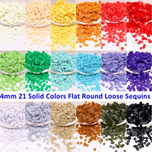 2000Pcs/Pack 4mm Solid Colors Sequins Flat Round PVC Loose Sequins Paillettes Sewing Craft,Women Cloth Embroidery Accessories
