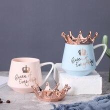 Crown Cup Mugs Breakfast-Cups Coffee-Mug Gift Ceramic Water-Milk Pink Girl Creative Nordic
