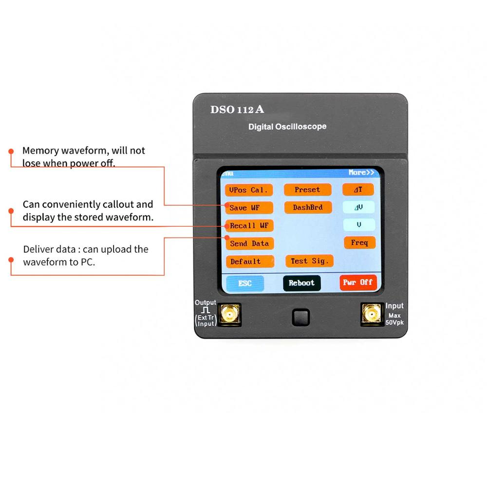 DSO 112A TFT Mini Digital Oscilloscope Touch Screen Portable USB Oscilloscope Interface 2MHz 5Msps