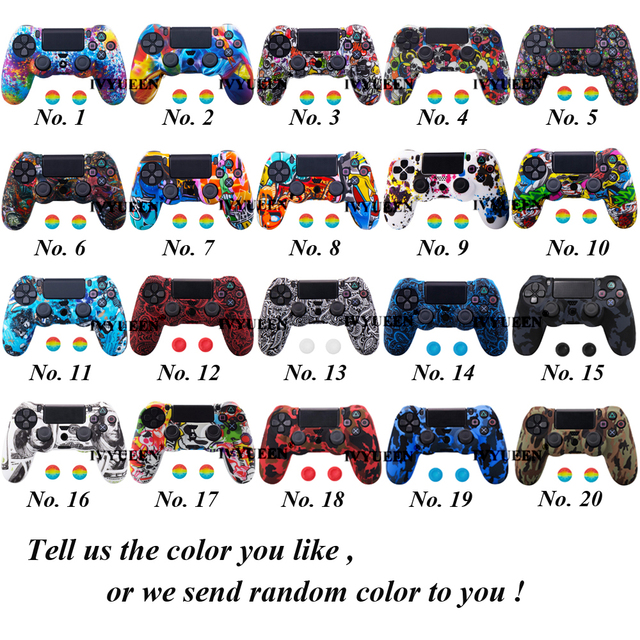IVYUEEN 44 Colors Silicone Camo Protective Skin Case For Sony Dualshock 4 PS4 DS4 Pro Slim Controller Thumb Grips Joystick Caps 1