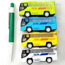 Small Simulation Pull Back City Bus Model Mini Portable Cartoon Plastic Puzzle Toy Car For Children Play Toy Random Colors(China)