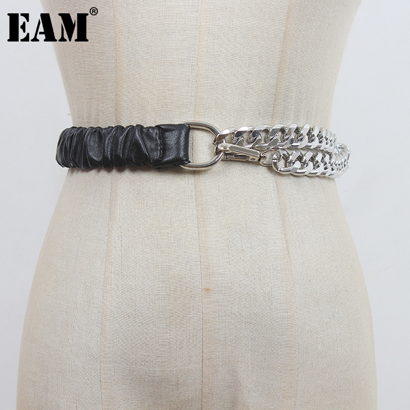 [EAM]  Pu Leather Metal Chain Spliced Wide Belt Personality Women New Fashion Tide All-match Spring Autumn 2021 1DE1186