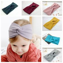 Baby Autumn and Winter New Color Cotton and Linen Children's Elastic Hair Ring Hundred Children's Headscarf Cross Baby Hair Ring(China)
