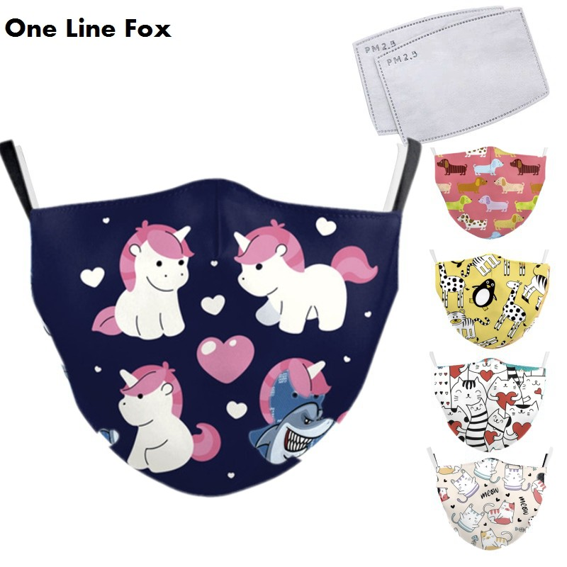 OneLineFox Cartoon Unicorn Printed Reusable Children's Stop Air Pollution Mouth Muffle Protective PM2.5 Bacteria Proof Flu Masks