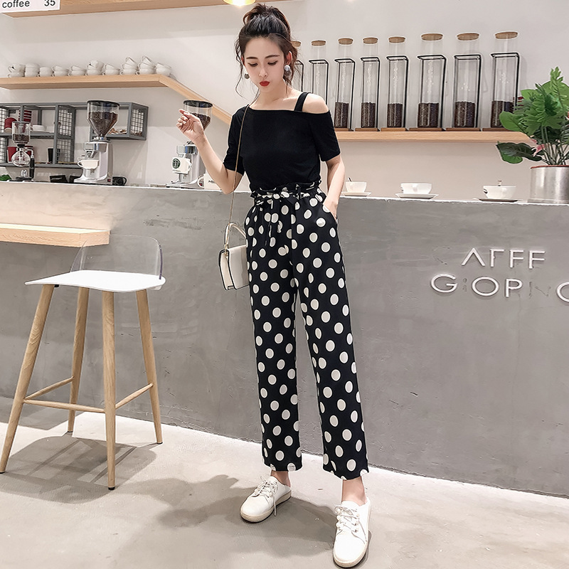 2019 Summer New Style Korean-style Off-Shoulder Black, Short Sleeve + Polka Dot Loose Pants WOMEN'S Suit Royal Sister Western St