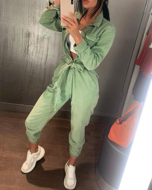 Solid Long Sleeve Zipper Pocket Cargo Jumpsuit Women Chic Casual Slim Fit Overalls Buttom Up Sashes Rompers Womens Jumpsuit