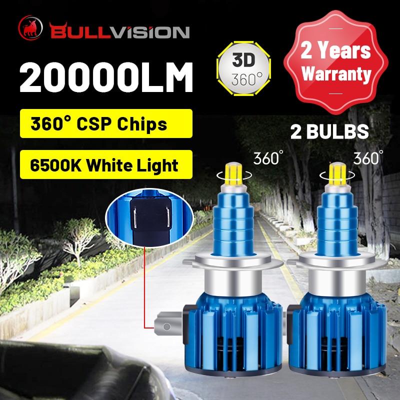 BULLVISION светодиодный H7 фары 20000LM 360 градусов 72 шт. светодиоды с чипом CSP H4 H11 H8 H9 9005 HB3 9006 HB4 Беспроводной Автомобильные фары 6500K белый