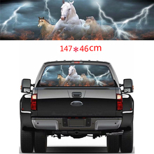 18 x 58 Car Rear Window Vinyl Sticker White Horse Galloping Graphic Tint Decal Sticker For Truck Jeep SUV PICUP black white grey jumbo arctic snow camouflage vinyl wrap film roll bubble free for jeep suv truck