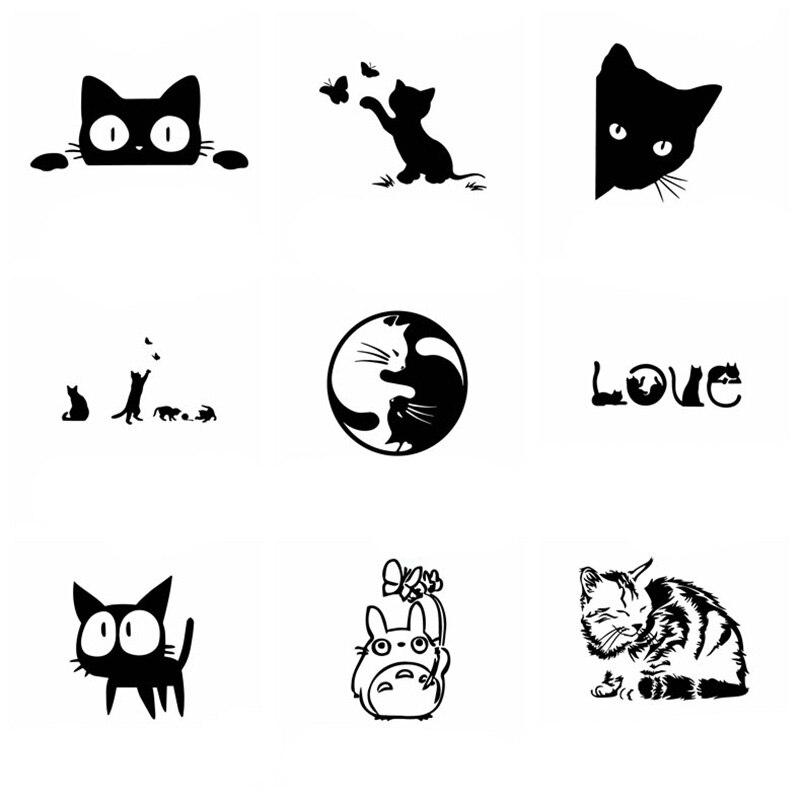 Наклейки и наклейки для автомобиля с милым котом, виниловые животные, автомобильные товары для автомобилей, наклейки для украшения окон и к...