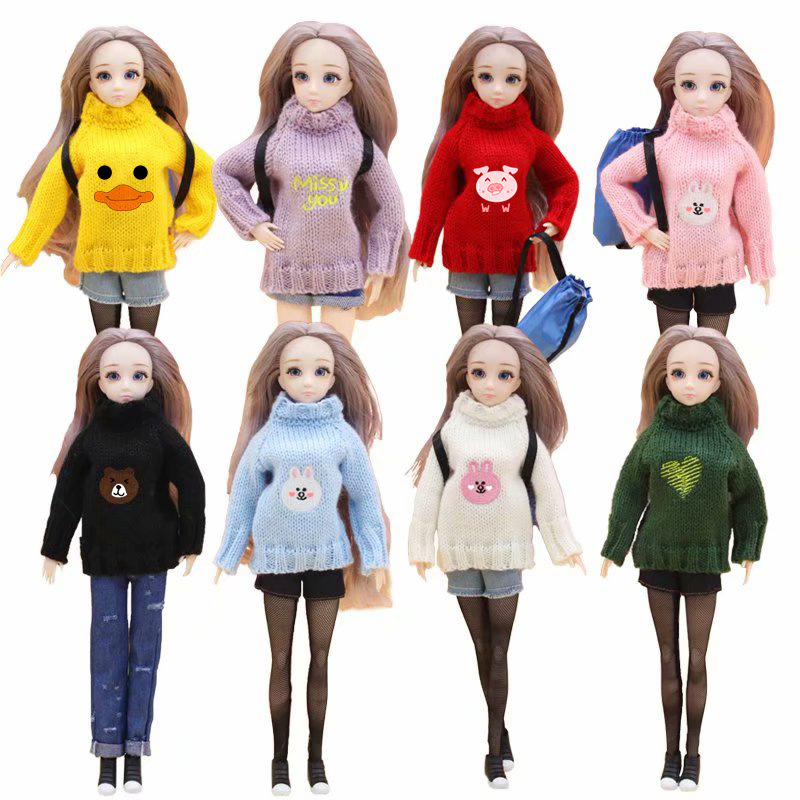 30cm Doll Accessories Bjd 1/6 Doll Clothes Suit with Pants Stockings Cartoon Duck Sweater Suit Dress Up Toys for Girls