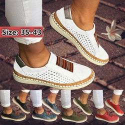 Women Fashion Ballet Flat Shoes Leisure Flat Shoes Sports Style Soft Leather Hollow-Out Casual Women Sneakers Plus Size 35-43