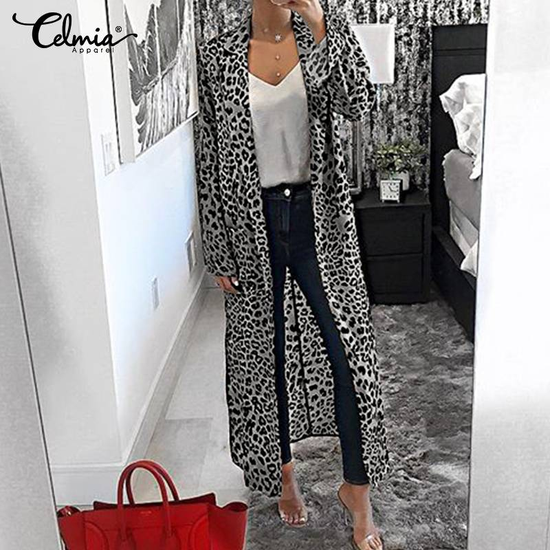 Oversized Women 2019 Celmia Leopard Print Blouses Long Sleeve Lapel Casual Loose Tunic Tops Plus Size Long Shirts Femme Cardigan
