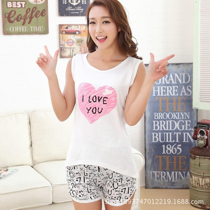 2020 Summer Ladies Cartoon Cute Milk Silk Vest Shorts Pajamas Two-piece Sleeves Women Sleepwear Home Clothes