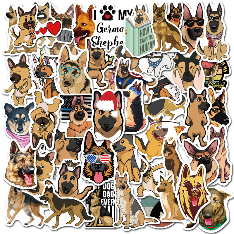 50PCS German Shepherd Cute Dogs Waterproof Cartoon Sticker For Luggage Car Guaitar Skateboard Phone Laptop Bicycle Stickers F4